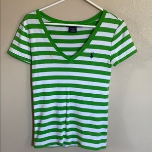 green and white stripped polo t shirt